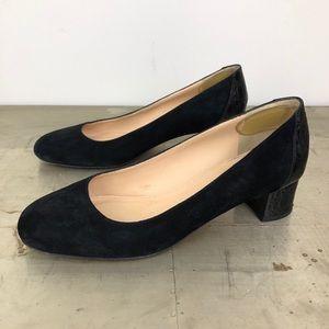 J. Crew Suede pumps with stamped croc heel